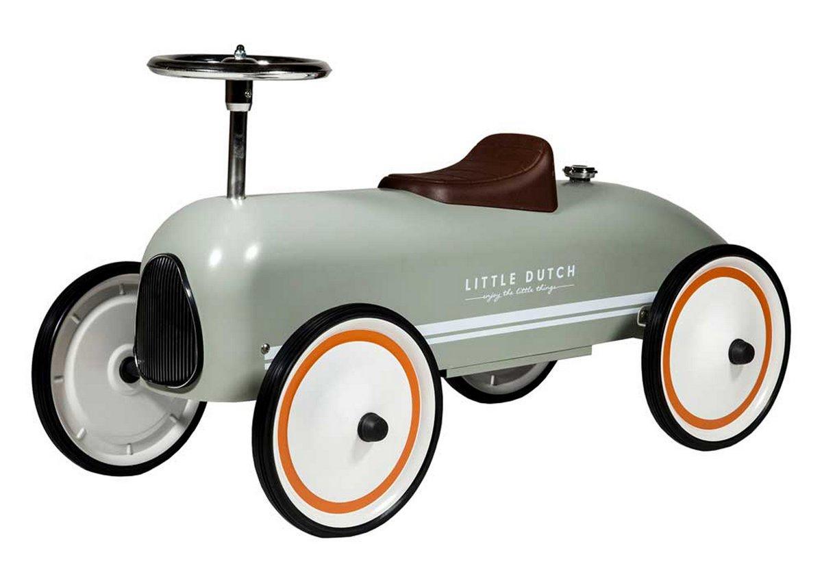 olivfarbenes Kinderrutschauto aus Stahlblech