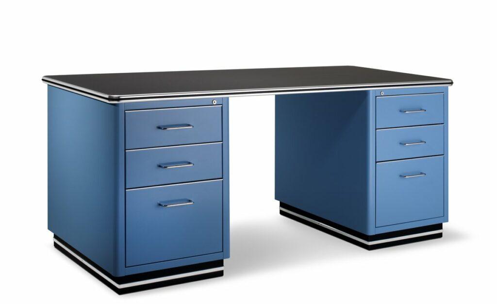 Schreibtisch in Blau mit Schubladen